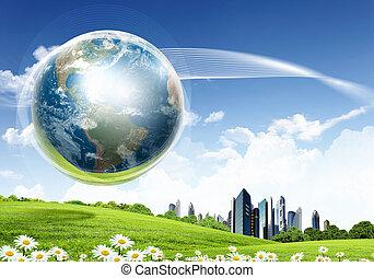 grön, beskaffenhet landskap, med, planet värld