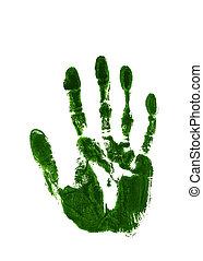 grön, bläck avtryck, av, lämnat räcka