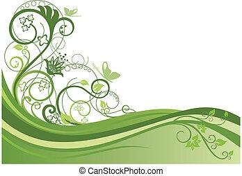 grön, blom- gränsa, design, 1