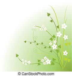 grön, blomstringar