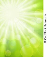 grön, bokeh, med, sol res