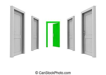 grön dörr, ta
