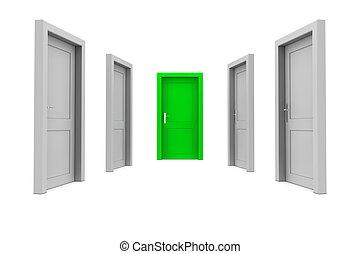 grön dörr, välja