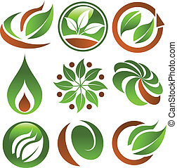 grön, eco, ikonen