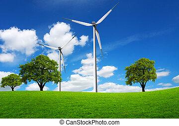 grön, eco, värld