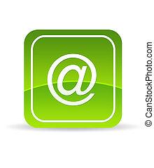 grön, email, ikon