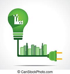 grön, energi, begrepp