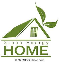 grön, energi, hem