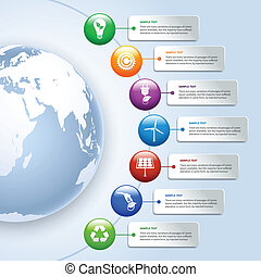 grön, energi, infographics