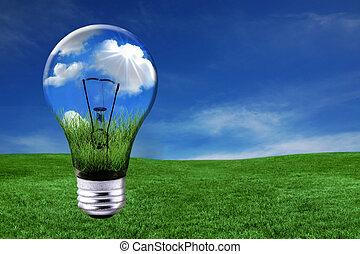 grön, energi, lösningar, med, ljus kula, morphed, in i, landskap