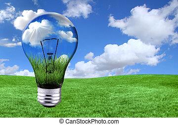 grön, energi, lösningar, med, ljus kula, morphed, in i,...