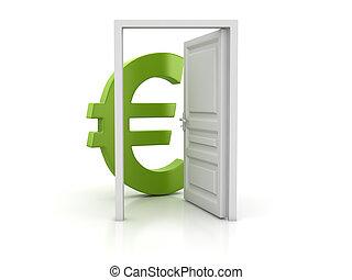 grön, euro, dörr öppna, underteckna