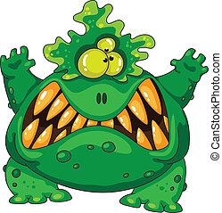 grön, förfärlig, monster
