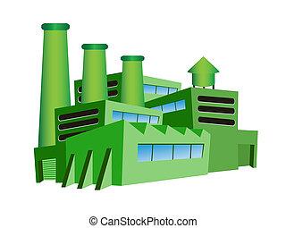 grön, fabrik