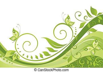 grön, fjäder, bakgrund