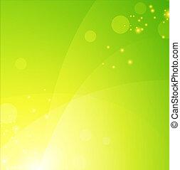 grön, fjäder, bakgrund, med, lyse