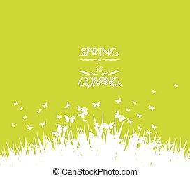 grön, fjäder, med, kommande, snart