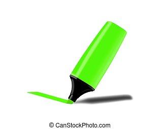 grön, fluorescerande, markör