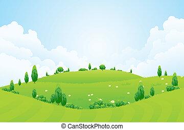 grön fond, med, gräs, träd, blomningen, och, kullar