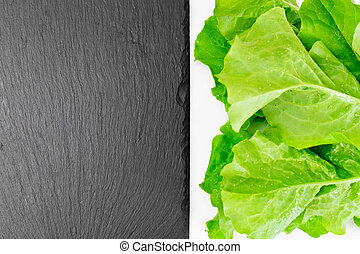 grön, frisk, grönsallat, med, tom, tallrik, och, plats, för, din, text