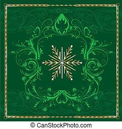 grön, fyrkant, snöflinga