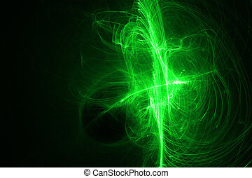 grön, glöd, energi, våg