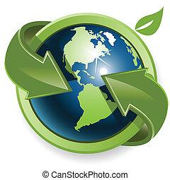 grön glob, pilar