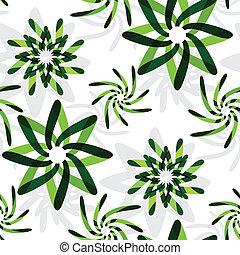 grön, grafisk, blomningen, mönster
