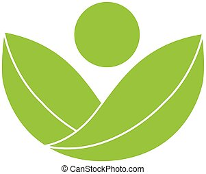 grön, hälsa, natur, logo