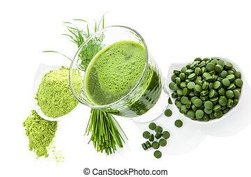 grön, hälsosam, superfood., detox, supplements.
