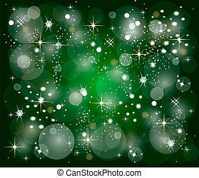 grön, jul, bakgrund, med, stjärnor