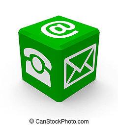 grön, kontakta, knapp