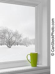 grön, kopp, på, a, fönsterbräde