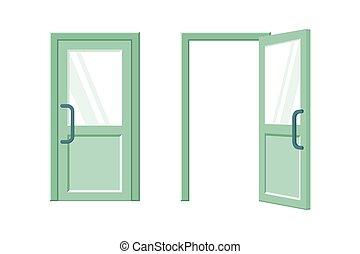 grön, lägenhet, öppen dörr, stängd, illustration, vektor