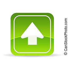 grön, ladda upp, ikon