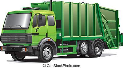 grön, lastbil, avskräde