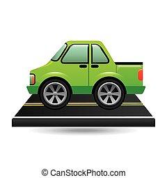 grön, lastbil, uppe, väg, hacka