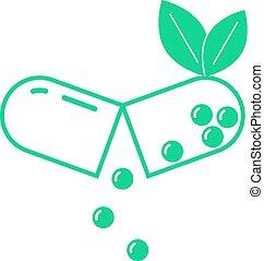 grön leaf, öppnat, pill