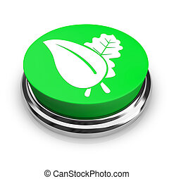 grön leaf, -, knapp