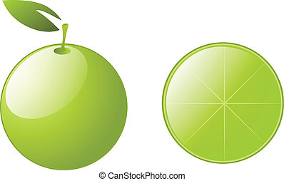 grön, lemons, med, bladen