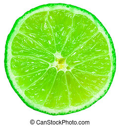 grön, lime, frukt, skiva