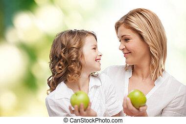 grön, lycklig, dotter, äpplen, mor