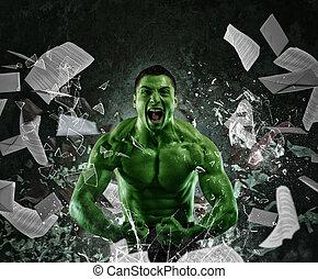 grön, mäktig, muskulös, man