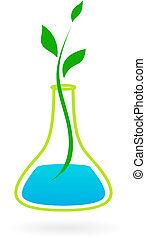 grön, medicin, logo