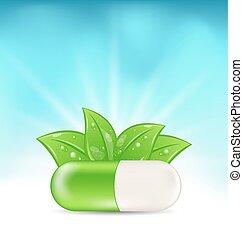 grön, medicinsk, naturlig, bladen, pill