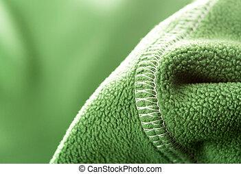 grön, mjuk, syntetisk, ull