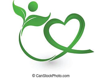grön, natur, illustration, logo