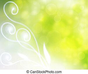 grön, naturlig, bakgrund, bubbla