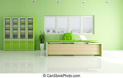grön, nymodig, kontor