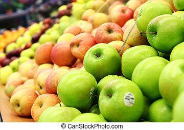 grön, och, röda äpplen, hos, den, bönder marknadsför